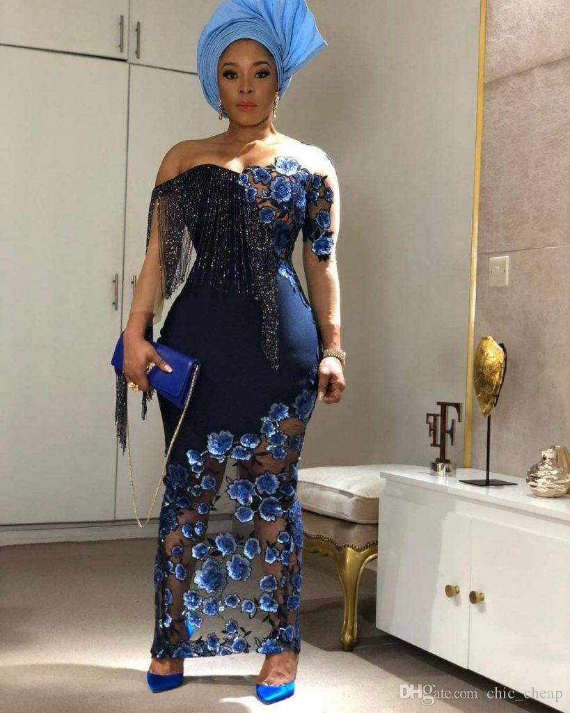 Stylish Sexy 2019 African Evening Dresses Long Sleeves Beaded Lace Prom Dresses Sheath Formal Party Bridesmaid Pageant Gowns ZJ78