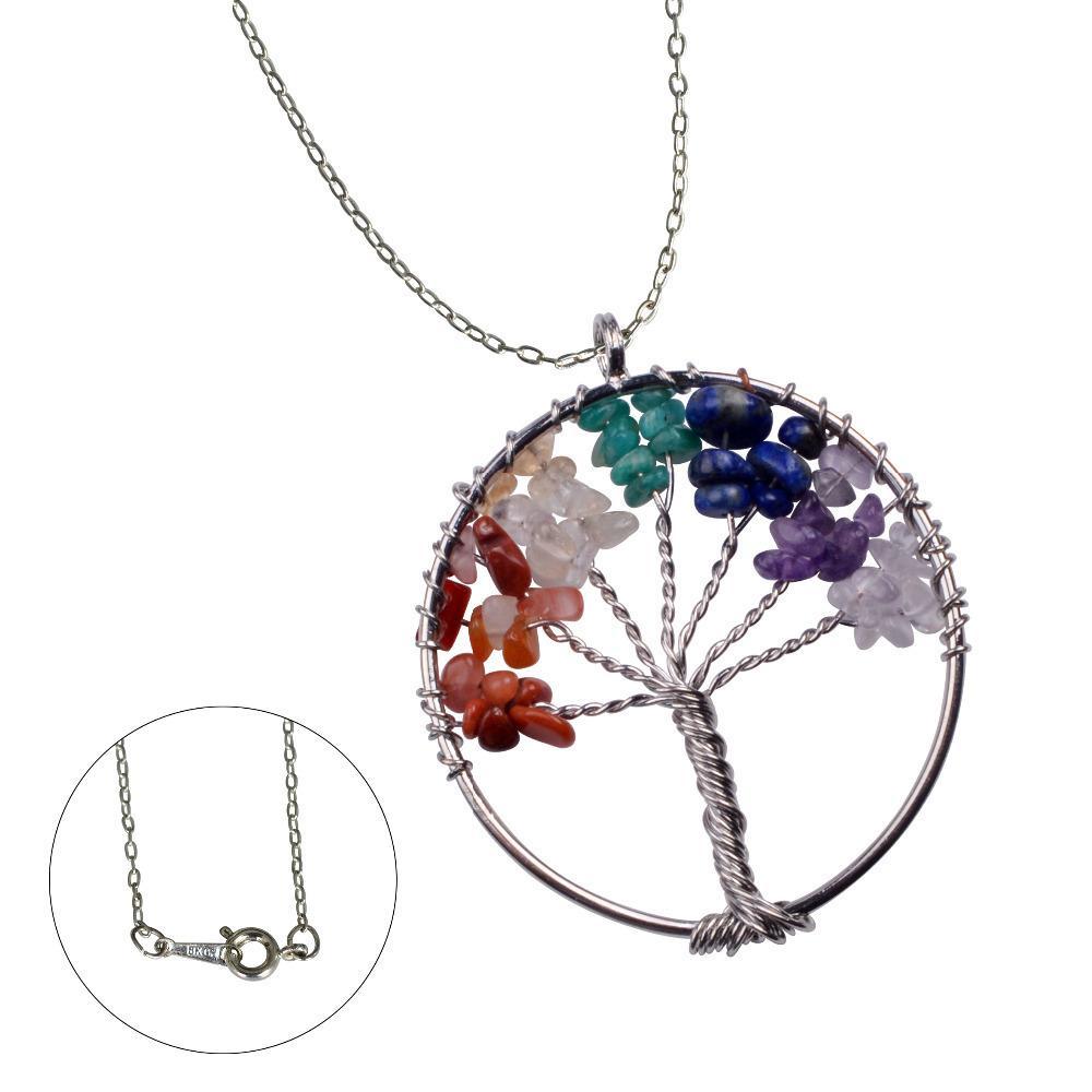 Arbre collier pendentif en pierre naturelle de la vie fil enroulé puce semi-précieuses collier pendentif en pierre Femmes arc-en-7 Chakra Amethy