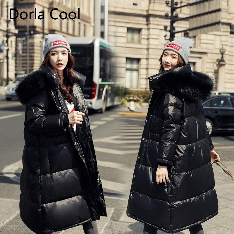 Лидирующий Женщины негабаритного вниз куртка Плюс Размер Для 78кг толстуха Подлинная меховой воротник с капюшоном Parka 2019 зима Женская толстое пальто T191030