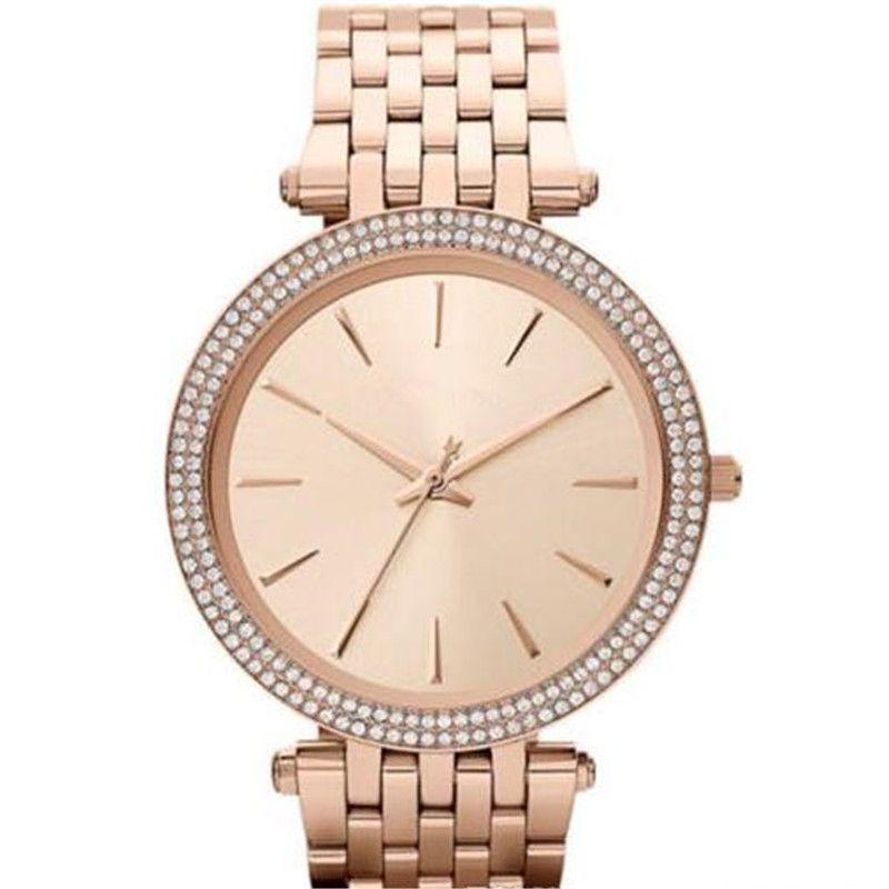 Envío de la gota MK3190 MK3191 MK3192 MK3203 MK3215 MK3322 MK3352 MK3353 Mujeres de calidad superior relojes de pulsera de acero inoxidable reloj de pulsera + caja