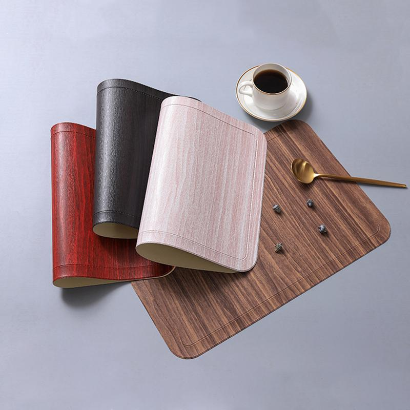 Table Mat PU Leather Pad For Dining Imitation Wood Grain Placemat Heat Insulation Non Slip Modern Placemats Bowl Cup Coasters