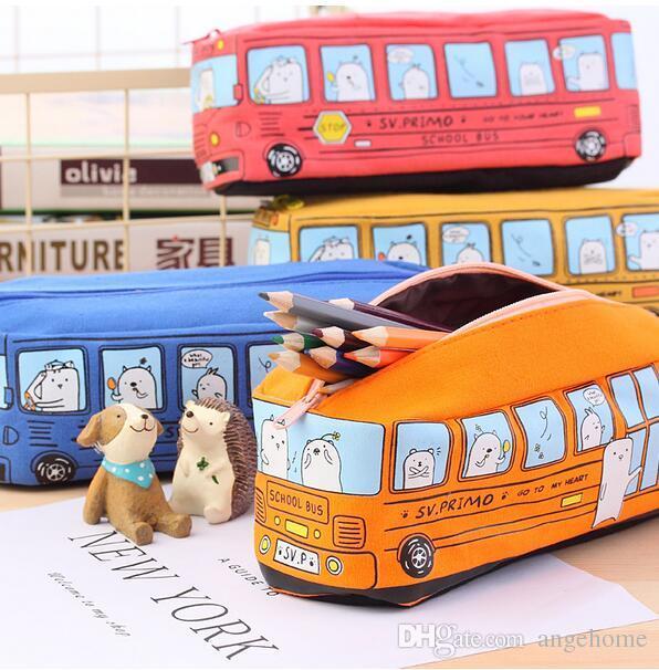 Criativo Bus Escola Caso de Lápis de Grande Capacidade Animal Dos Desenhos Animados Lona Lona Saco Caixa de Material Escolar