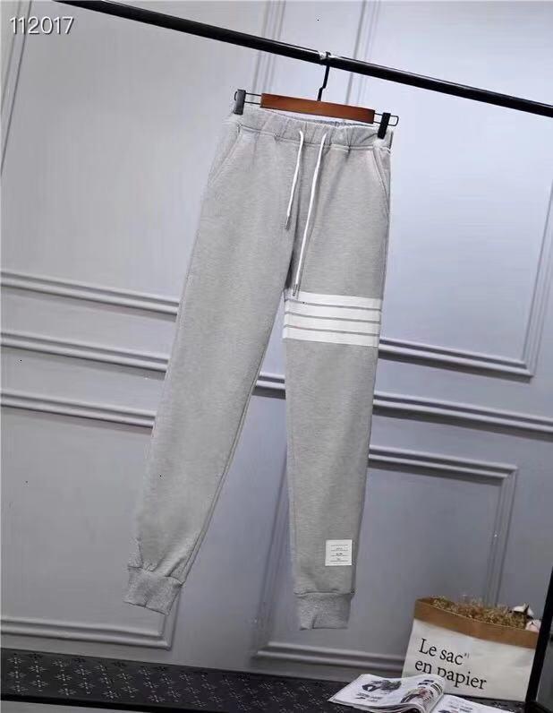 Homens calças casuais designer de cinza preta dois quatro calças teste padrão do círculo branco tendência de moda soltas confortáveis calças casuais 2019 nova