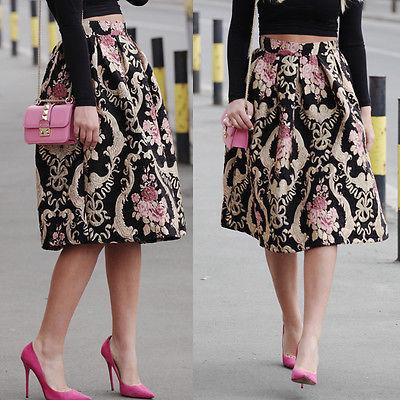 US Retro femmes imprimé floral taille haute Robe plissée robe de bal Midi Jupe longue