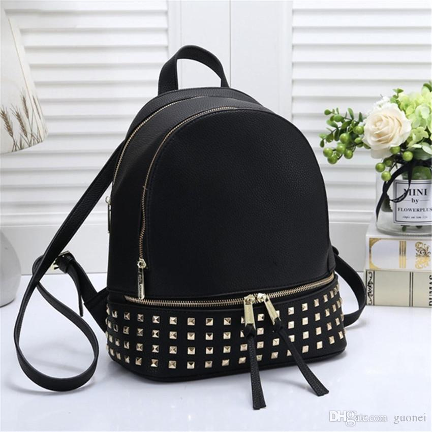 Designer backpack For Women Large capacity leather school bags with Black White Brown Blue 4 colors high quality Shoulder bag
