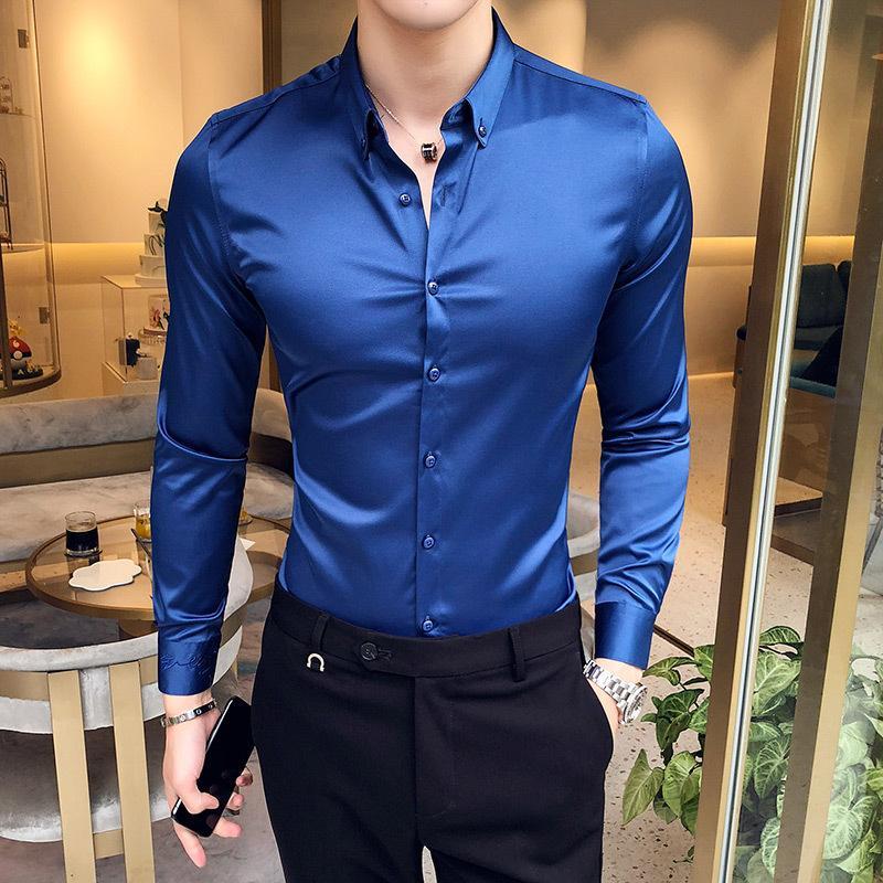 2019 camicia di estate di modo del manicotto solido lunga da uomo vestito da sera di raso casuale bar discoteca panno barbiere di fascia alta di business shirt Y200104