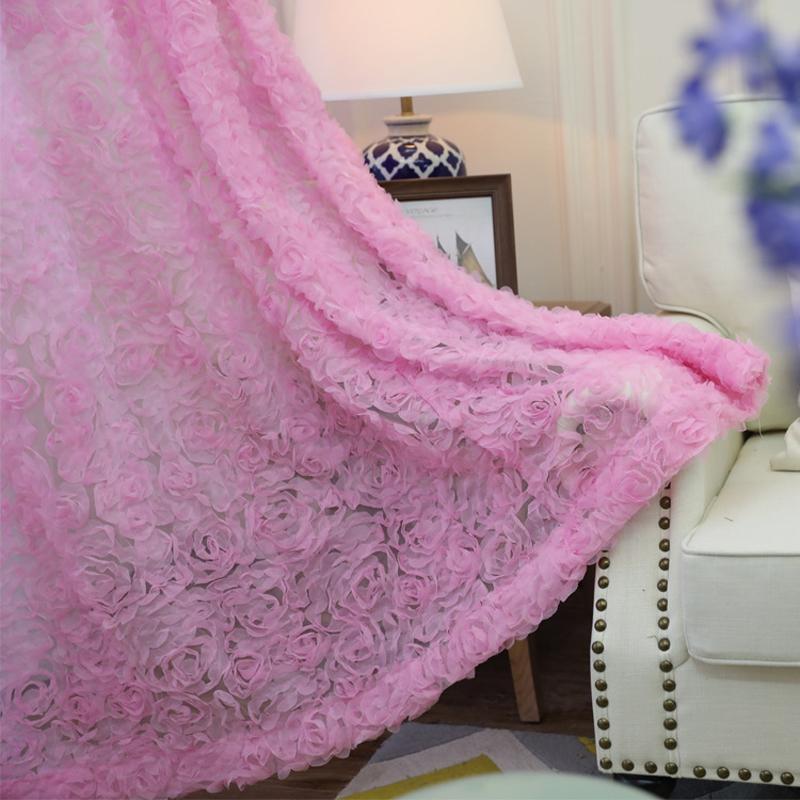 Bordado color de rosa rosada gasa cortina para la sala del banquete de boda de la decoración romántica Pastoral País Mirador cortinas Tende