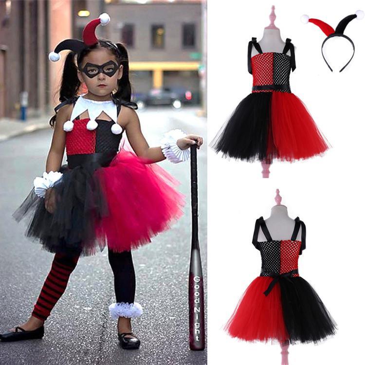 Kızlar Dantel TUTU elbise Cadı palyaço Parti Prenses Elbise çocuklar giysi tasarımcısı kızlar Kolsuz çocuk giysileri abiye DHL JY60