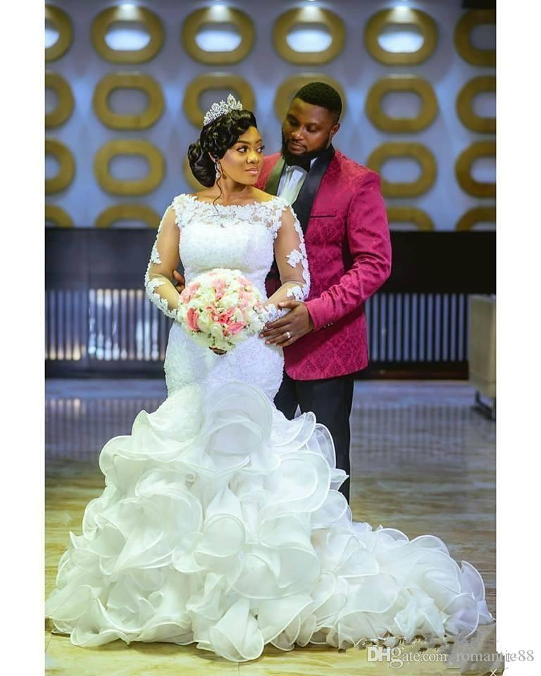 2020 국자 레이스 아플리케 인어 웨딩 드레스 긴 Sleeevs 계층 플러스 사이즈 아프리카 신부 드레스 맞춤 제작