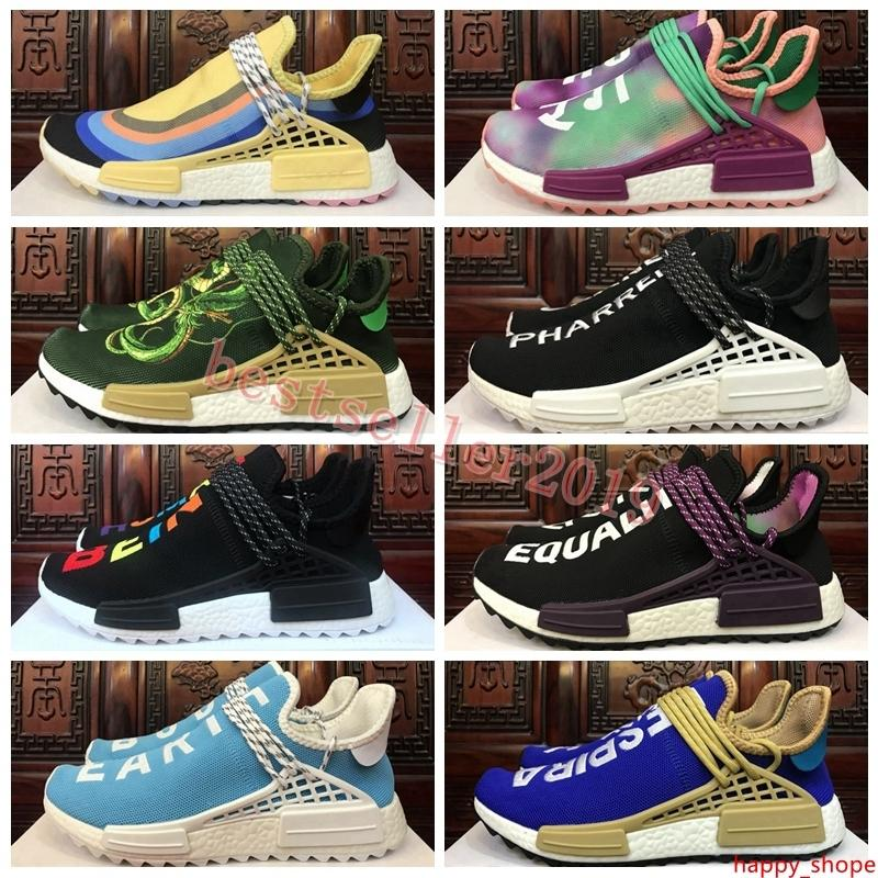 2019 Race New Human Runner Sean Wotherspoon Pharrell Williams HU Trail Holi Femmes Hommes Chaussures de course Baskets Marque Sneakers Designer