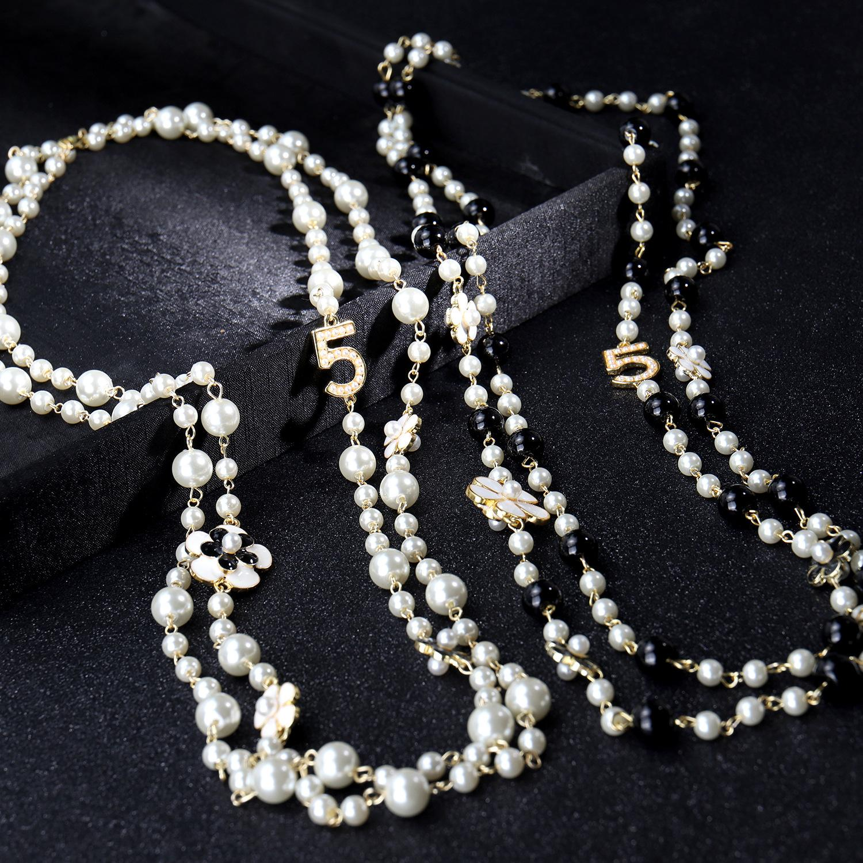 5 Luxo colar de pérolas coloridas Pearl Pendant Carta 5 Pingente Mulheres Alta Qualidade Colar cc Jóias