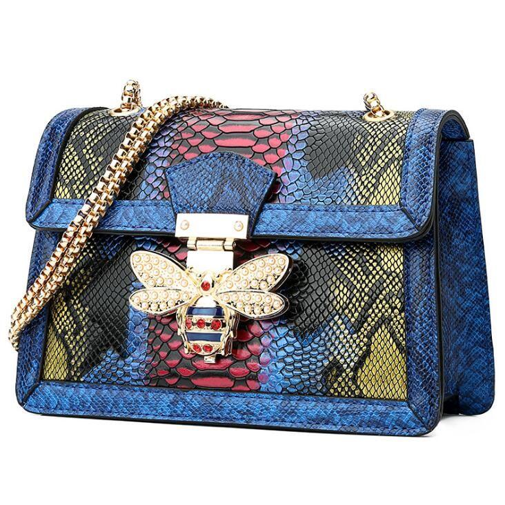 Wholesale brand women handbag fashion serpentine shoulder bag personality studded bees chain bag fashion contrast leather shoulder bag