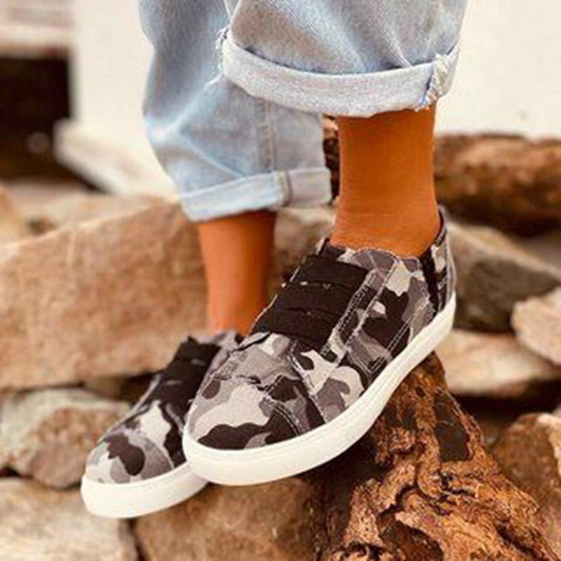 Frauen Wohnungen Schuhe Frau Vintage-Segeltuchgewebe flacher Slip auf plus Größe Schuh lässig chaussures femme mujer zapatos sapato D634
