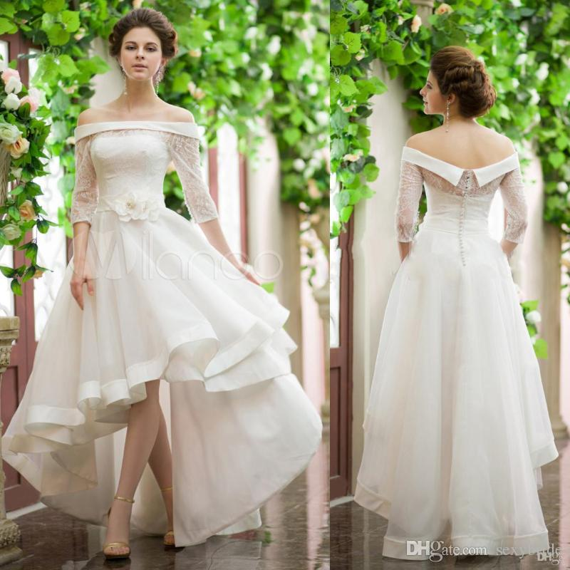 New Vintage Style High Low Wedding Dresses Illusion Sleeves Off Shoulder Flower Belt Lace Top Short Front Long Back Cheap Puffy Bridal Gowns
