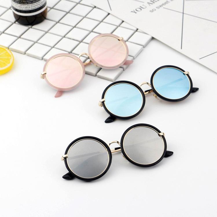 إطار مهرجان المعادن النظارات الشمسية الاطفال طلاء جولة نظارات شمسية بنات بنين الطفل العلامة التجارية adumbral نظارات الأطفال Oculos