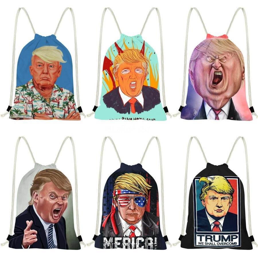Fashion Shoulder Bag Canvas Trump Backpack Cute Cartoon Shopping Bag High Capacity Totes Special Price #509