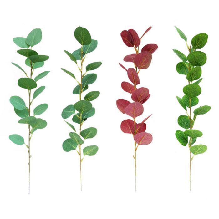 أوكالبتوس أوراق الزهور الاصطناعية الخضراء أوراق النباتات الاستوائية غرفة المعيشة المنزل الديكور حديقة المنزل في الزفاف ديكور المنزل وهمية