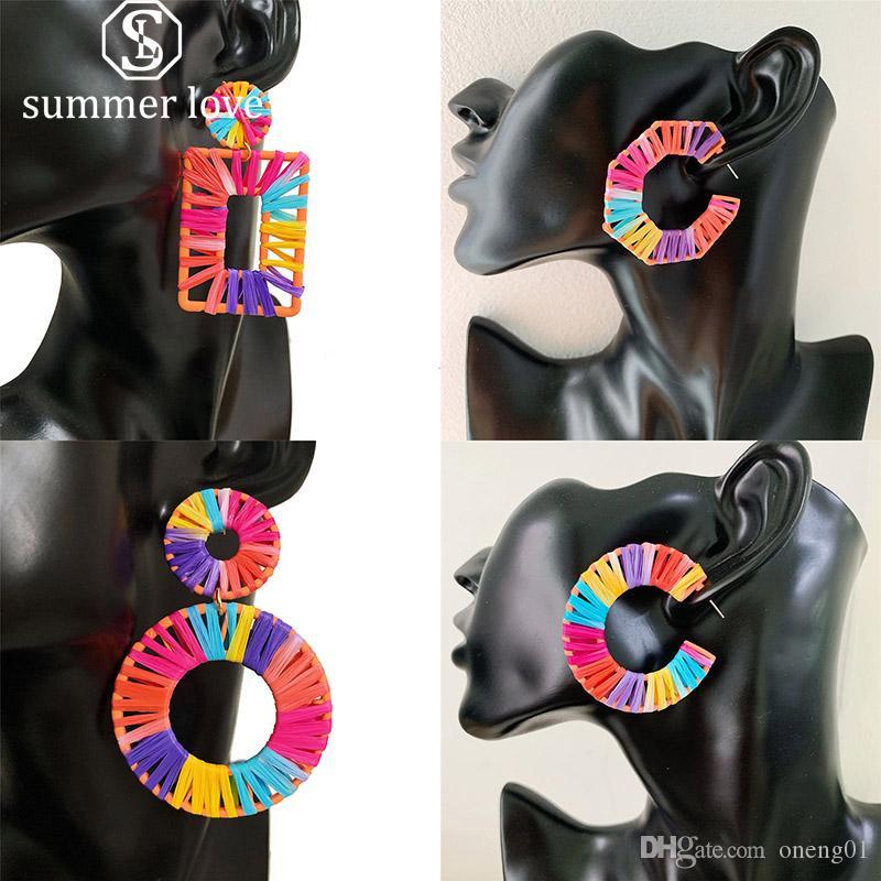 Kadınlar Renkli sekizgen için el yapımı Geometrik Rafyalık Hoop Küpeler Büyük Aşk Çim Örgülü kolye Küpe Hediye Exaggerated
