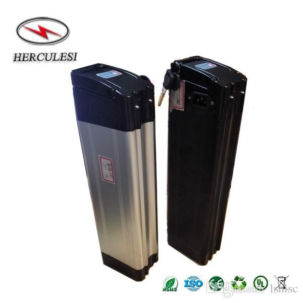 Silver Fish Case 500W 36V 12Ah Lithium ion Battery for Electric Bike Bicycle 36V used 3.7V 2.0Ah 18650 15A BMS +2A charger