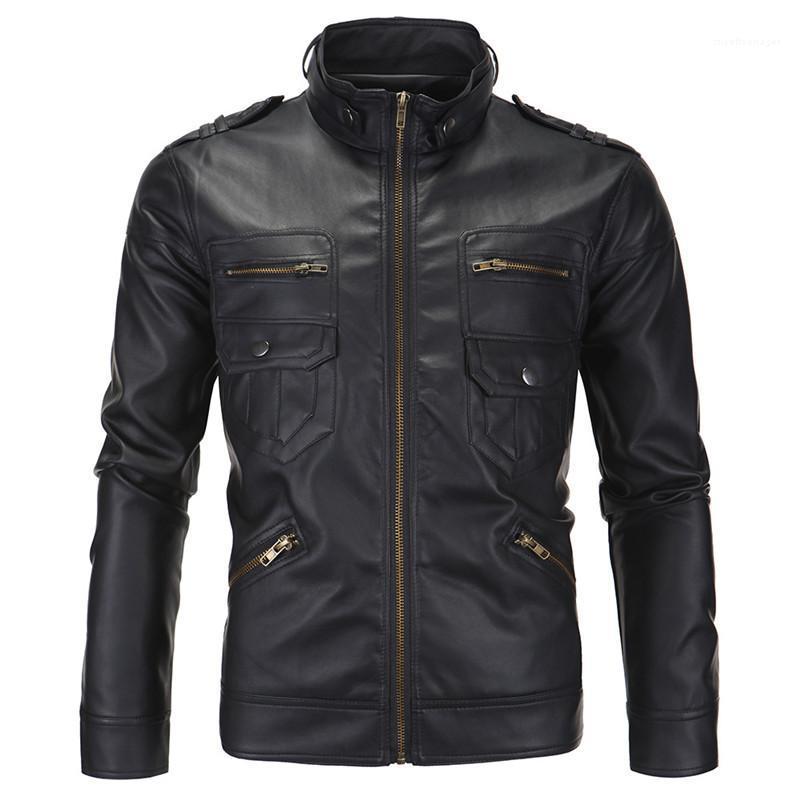 Diseñador de manga larga collar del soporte de cuero para hombre de la chaqueta de invierno de los abrigos de moda masculina de Outerwears PU para hombre de la motocicleta