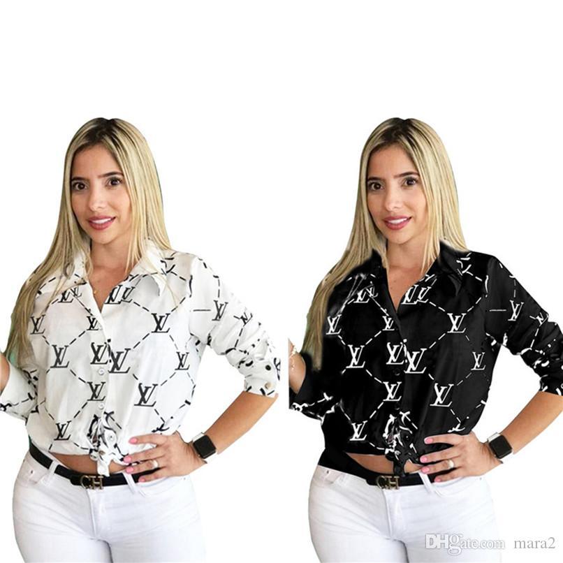 Женщины бренд дизайнер рубашки плюс размер S-2XL с длинным рукавом футболки Письмо печати топы повседневная лето весна Cothing горячие продажи 2706