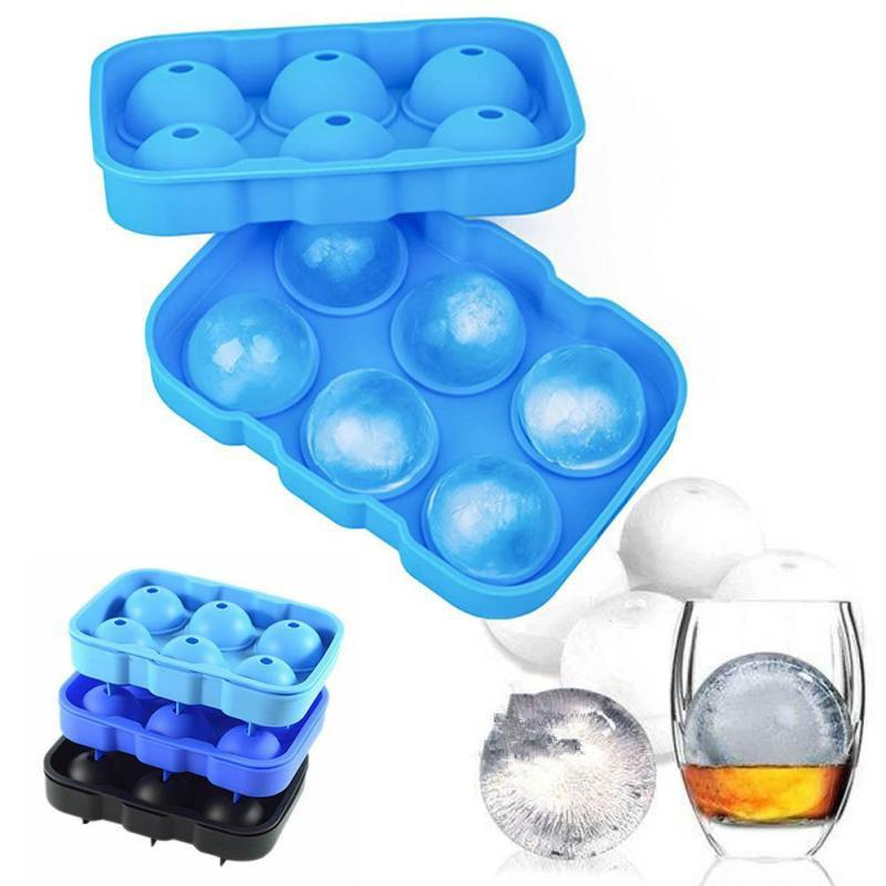 Ice Cube Trays Silicone Sphere Whiskey Ice Ball Maker with Lids Large Square Ice Cube Molds for Cocktails Bourbon Reusable BPA Free