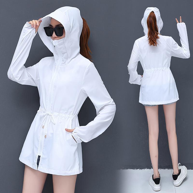 Casual chaqueta chaqueta de punto de verano más el tamaño de la capa delgada de las mujeres con capucha de protección solar UV de protección solar Outwear Señora de la playa spray anti seguridad T200520