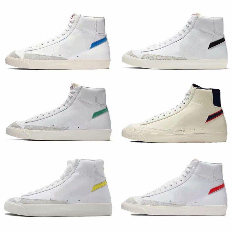 2019 Yeni Geliş Blazer Mid En kaliteli Erkekler Kadınlar Siyah Beyaz Yüksek Yardım Eğitimi Sneakers Boyutu 36-44 için 77 Vintage Koşu Ayakkabı