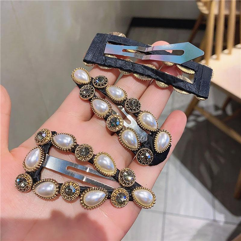 3 Styles INS Fashion Pearl Hair Clips Night Club Party Girls Hairpin Personality Night Club Party Vintage Hair Clips for Ladies