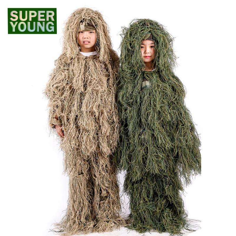 Children Sniper Ghillie Suits Men Gear Boys Girls Army Tactical Uniform Kids Camo Jungle Hunting Combat Clothes