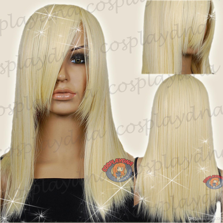 20 인치 Hi_Temp 라이트 Golden Blonde 턱 길이 긴 코스프레 DNA 가발
