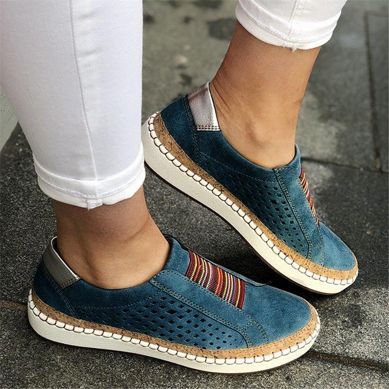 Primavera PU mujeres zapatos planos zapatillas mocasines superficiales zapatos vulcanizados transpirable ahueca hacia fuera las señoras ocasionales femeninas cómodas