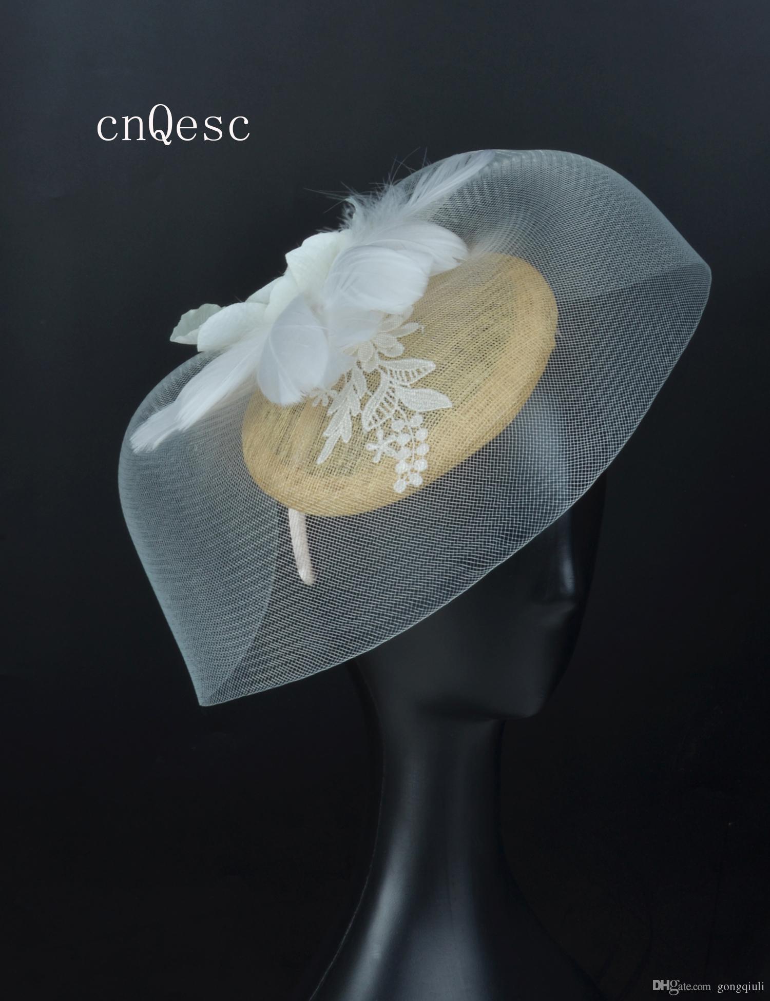 2019 crin Avorio champagne oro piuma fascinator cappello da sposa sinamay pizzo fascinator fiore di seta per la festa della mamma corse Kentucky derby