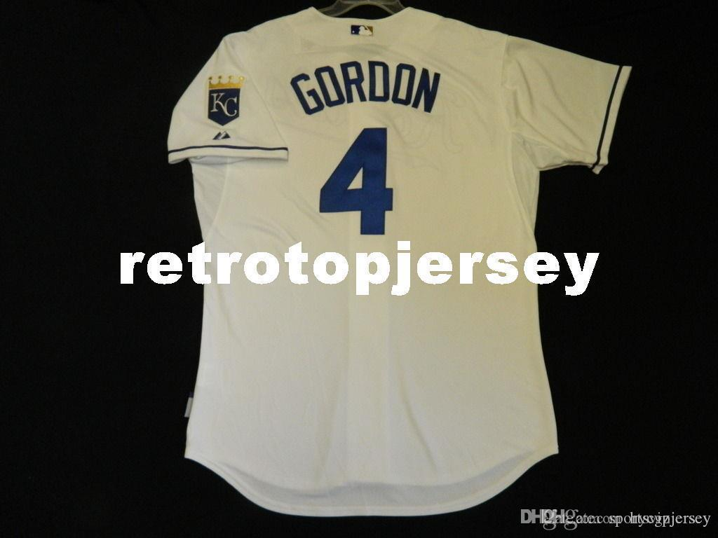 Majestic baratos KANSAS CITY # 4 Alex Gordon FRESCO BASE Jersey Mens costurado Atacado grande e TAMANHO Alto XS-6XL camisola do basebol
