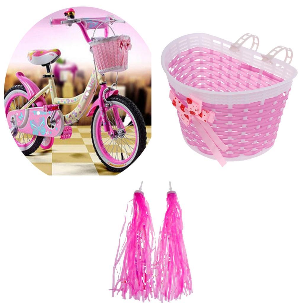개인 설정 어린이를위한 여자 자전거 핑크 전면 핸들 바구니 + 레트로 폼은 폼은 개의 Tassels 깃발은 세발 자전거 스쿠터 자전거