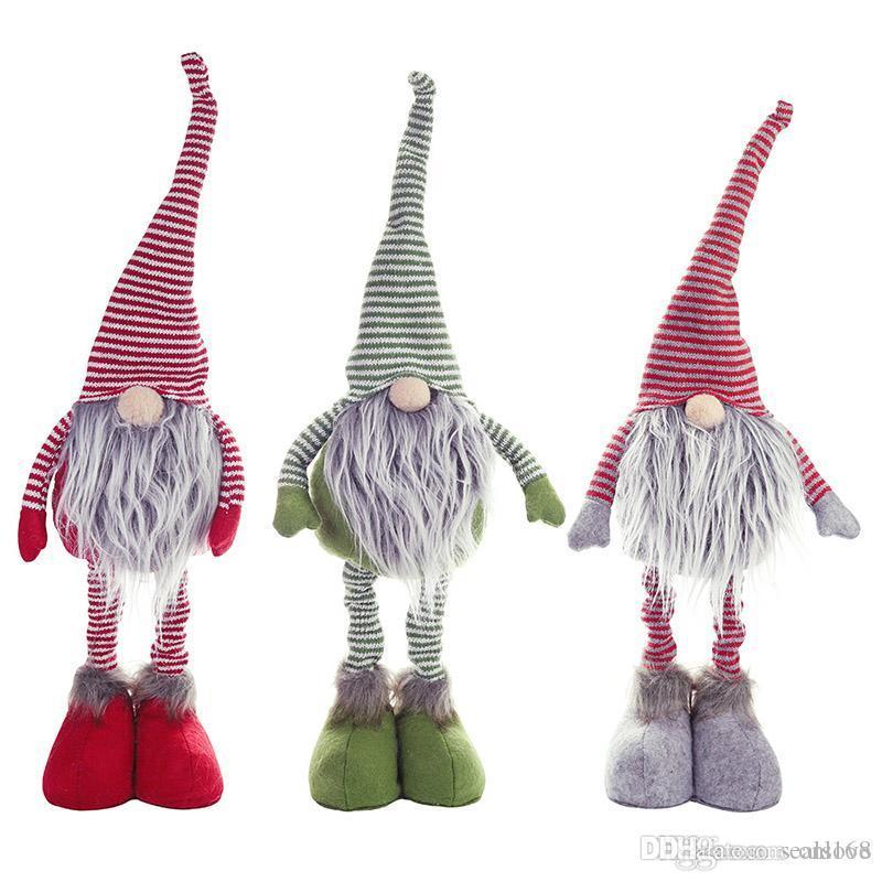 Decoración de la muñeca de Navidad raya juguetes de peluche muñeca largo de Legg sueca de Santa Permanente muñeca ornamento de la Navidad del árbol de Navidad HH9-2456