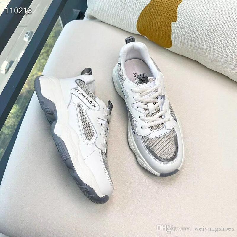 2020 Herbst New Leder Alte Schuhe Frauen Mesh-Breathable Sport-beiläufige Schuh-Frauen Thick-soled Students Laufschuhe Tide