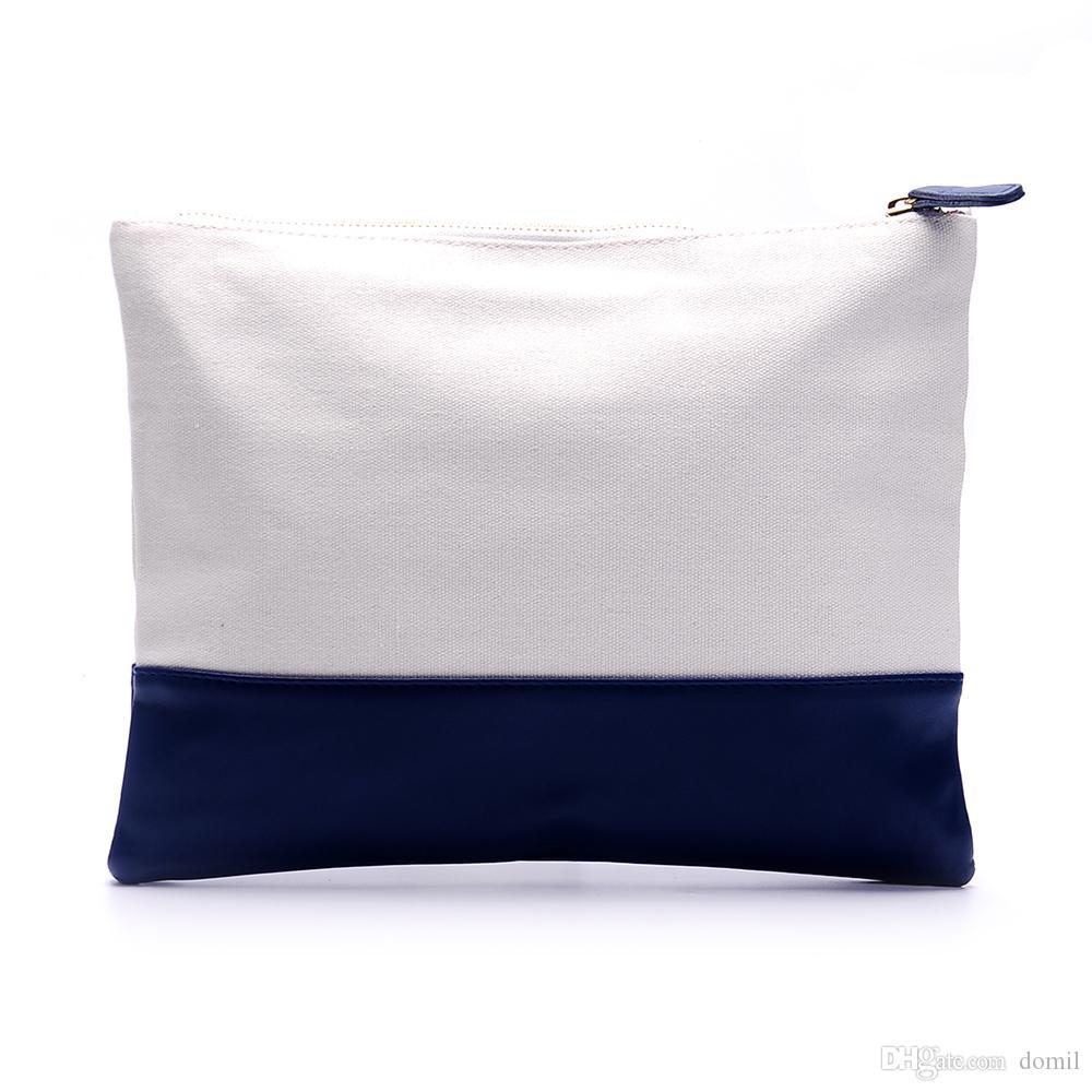 Borsa per cosmetici in tela Tela per spazi vuoti all'ingrosso con rivestimento in PU Borsa per accessori Borsa in 5 colori DOM106317
