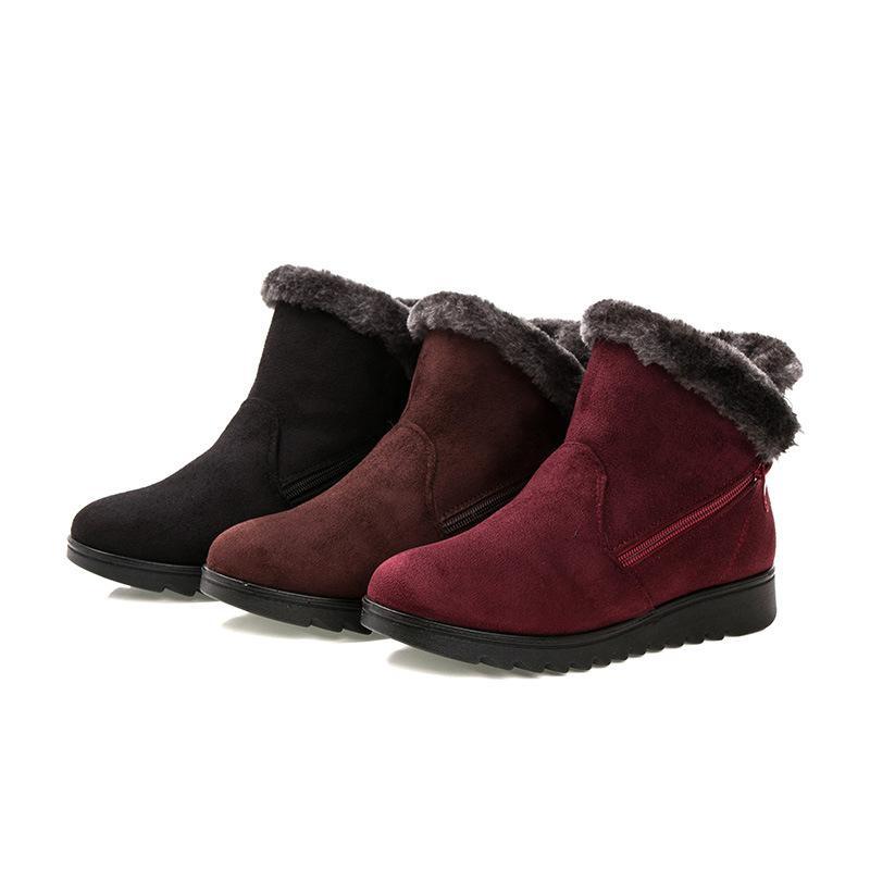 Зима Новая Старая Пекинская Ткань Обувь Женщины Теплые Старые Снежные Сапоги Большой Размер Хлопок Ботинки Средний и Старая Хлопковая обувь