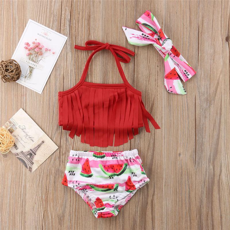 유아 아이 아기 여자 술 비키니 세트 과일 수영복 수영복 수영복 수박 술 수영복 - 빨간색