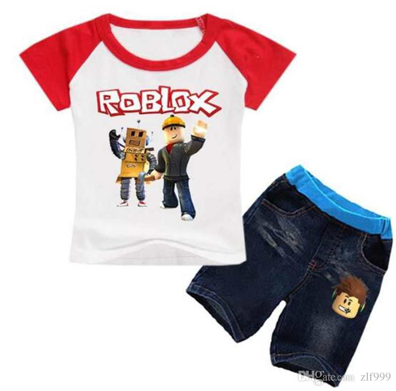2020 Soft Cute Roblox Game T Shirt Tops Denim Shorts Fashion New