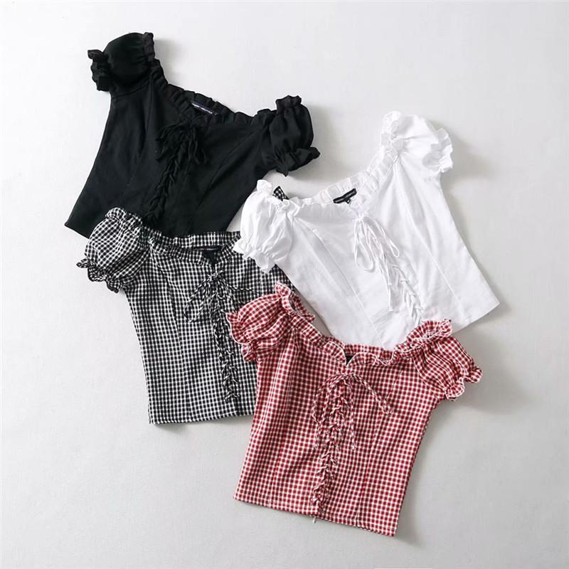 Женщин хлопка сетки Сплайсированные кружева рубашки Подол с V-образным вырезом Puff рукавом рубашка лето элегантный тонкий с коротким рукавом блузки топы SH190706