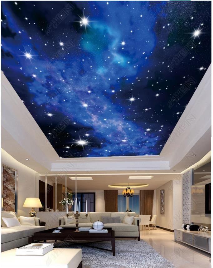 Großhandel Kundenspezifische Große 3D Fototapete 3d Decke Wandbilder Tapete  HD Sternenhimmel Nachtszene Kinderzimmer Zenit Malerei Decke Wandbild Von  ...