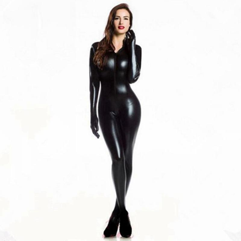 eldiven Açık Kasık Clubwear fetiş Kedi Kadın Sahte Deri catsuit kostümleri ile Kadınlar Seksi Wetlook PVC Lateks iç çamaşırı bodysuit