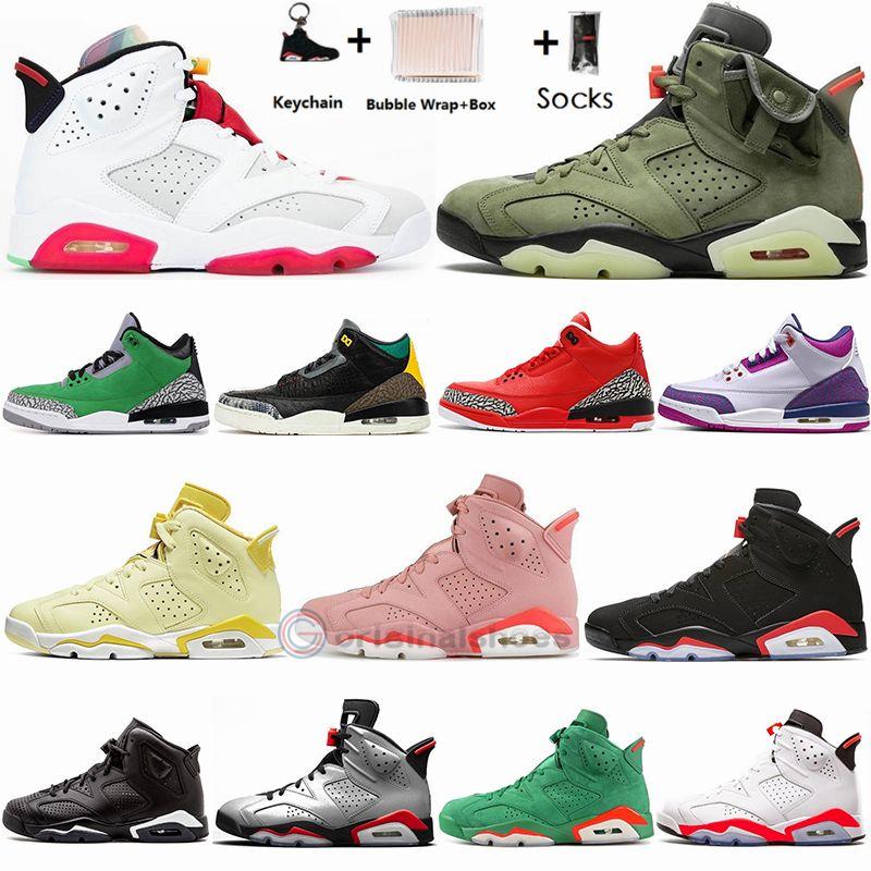 Nike Air Jordan Retro 6s Travis Scotts 6 Hare BlackMay 6s Hommes Chaussures De Basketball 3 3s UNC Noir Blanc Ciment Homme Femmes Sport Baskets