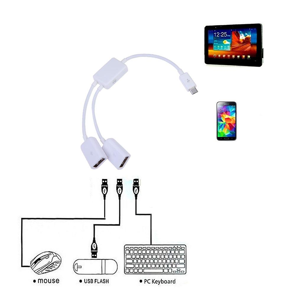Micro USB Host Cable Maschio a 2x Tipo Dual USB femmina OTG adattatore Converter Hub per Android Tablet PC Phone Mouse