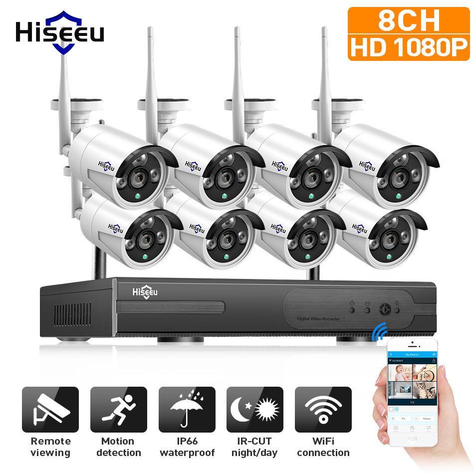 Hiseeu 1080P Kablosuz CCTV 8CH NVR Kiti Açık IR Gece Görüş IP Kamera WiFi Kamera Güvenlik