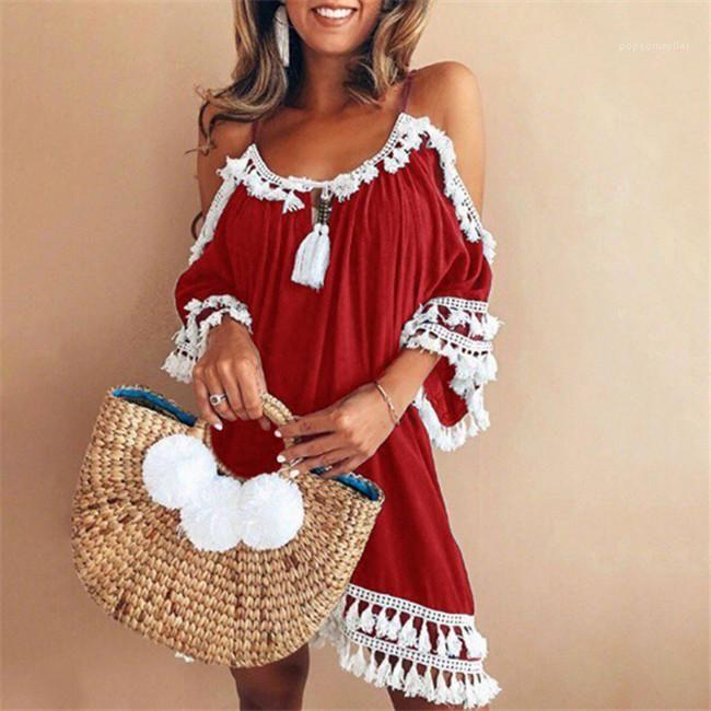 Giyim Tasarımcısı Yaz Elbiseler Spagetti Kayışı Panelli Püskül Elbise Backless Gevşek Sundress Kadın Dantel Baskı Sıcak