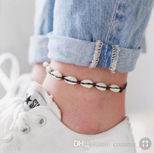Bohemian Sea Shell Pour Femmes Filles Anklet main noire cordes chaînes corde Summer Beach Bracelet cheville sur la jambe hommes Boho Bijoux cadeau