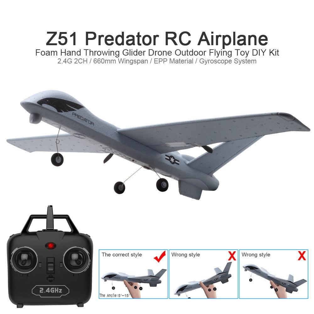 2MP HD 카메라 또는 아니오 카메라 날개 폭 폼 비행기를 던지고 20 분 Fligt 시간 글라이더와 LED 손으로 RC 비행기 비행기 Z51